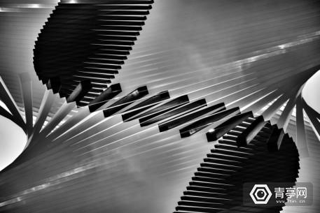 Close-Up Of Wavy Piano Keys