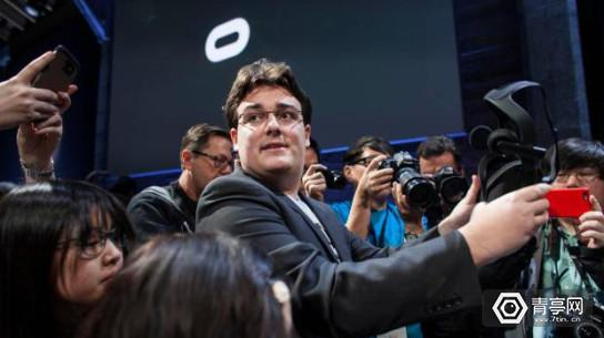 Palmer Luckey, founder of Oculus, at a news conference that introduced the Oculus Rift virtual reality headset and Oculus Touch hand controllers in San Francisco.