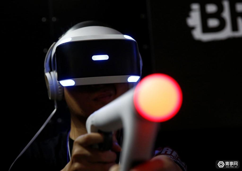 A man tries Sony Interactive Entertainment's Bravo Team at Tokyo Game Show 2017 in Chiba