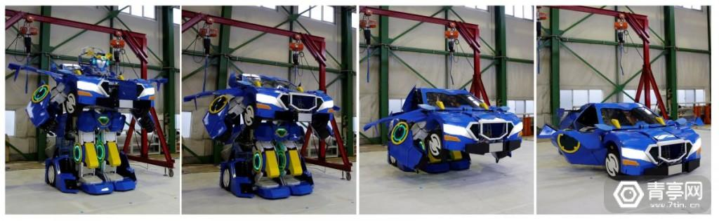 "Combination picture shows a new transforming robot called ""J-deite RIDE"" that transforms itself into a passenger vehicle, developed by Brave Robotics Inc, Asratec Corp and Sansei Technologies Inc, at a factory near Tokyo"