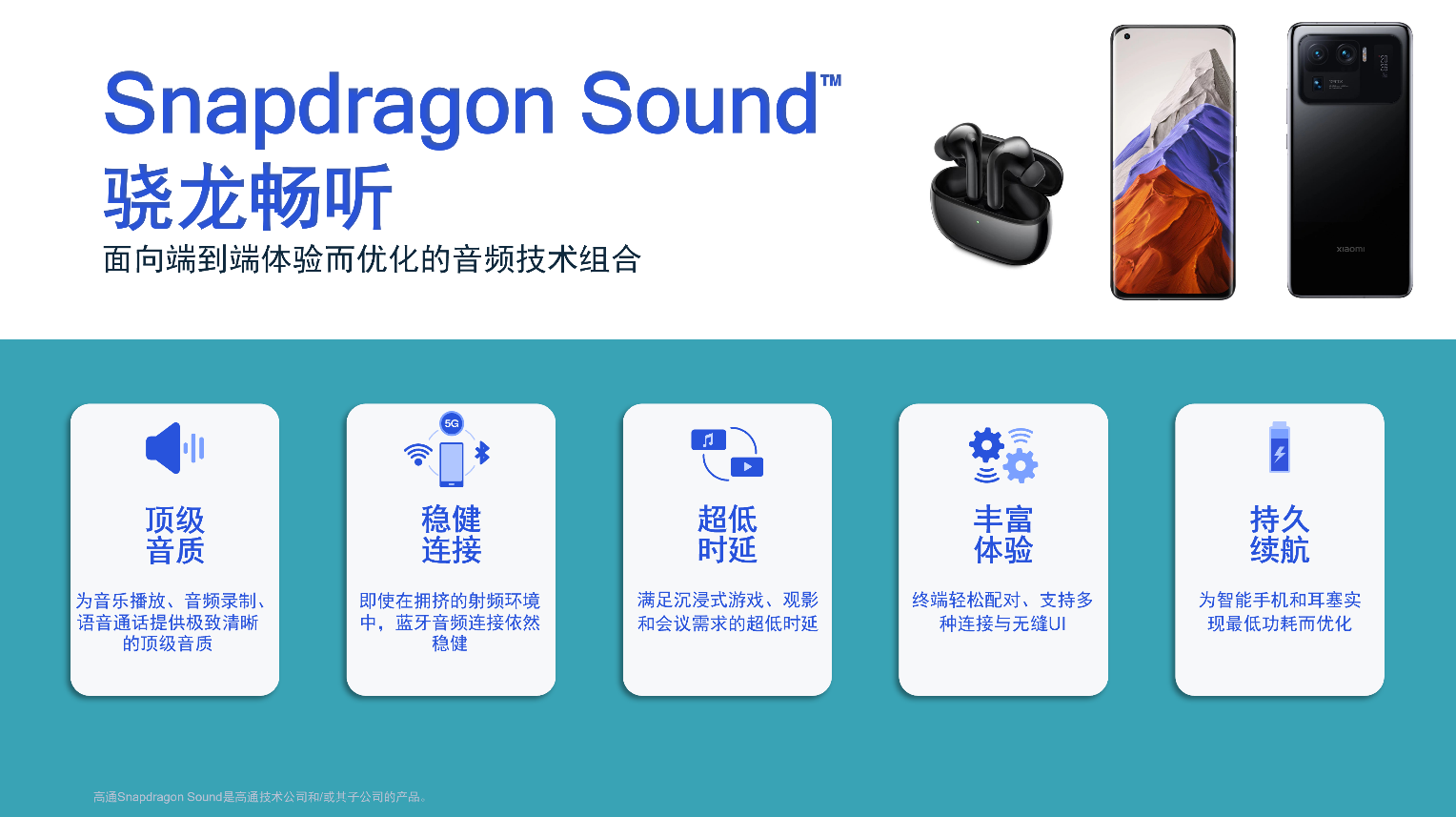 Snapdragon Sound骁龙畅听技术支持小米智能手机及耳机